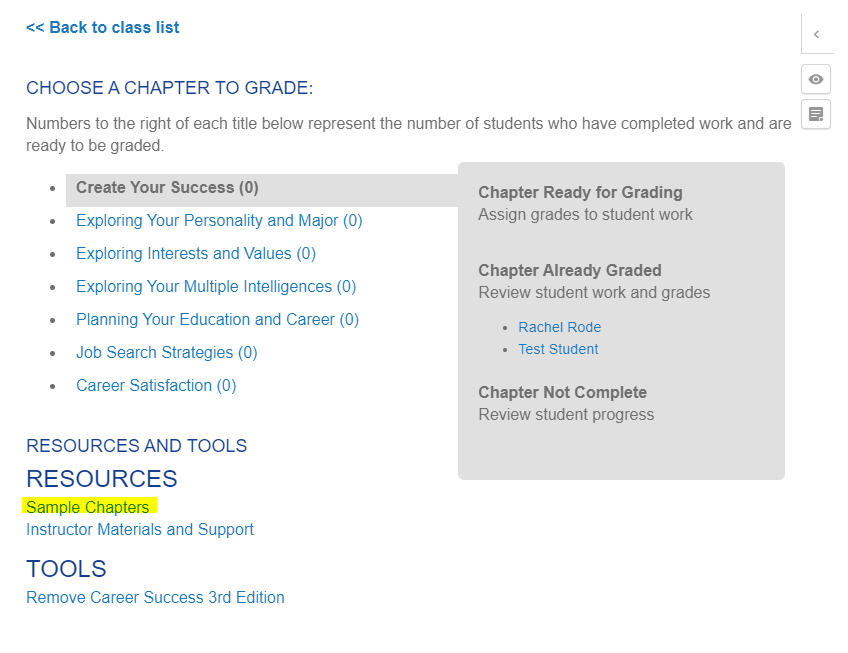 Screenshot of the Canvas grading screen with the sample chapters link highlighted at the bottom