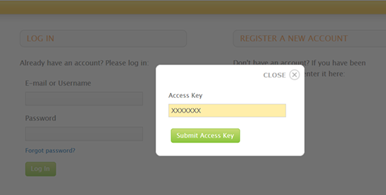 Screenshot of the access key entry screen on the Human eSources Platform